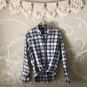 🌲Abercrombie & Fitch Button Blue Down Flannel